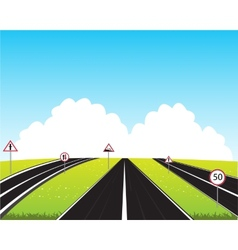 Much roads in field vector