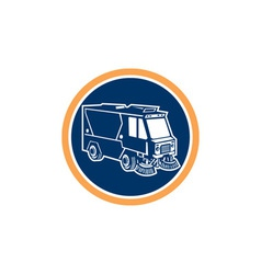 Street cleaner truck circle retro vector