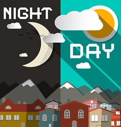 Night and day with mountain city and sun wit vector