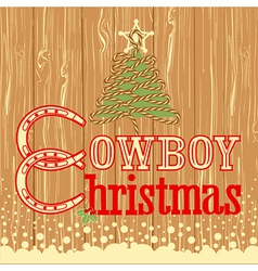Cowboy christmas card with decor rope tree vector
