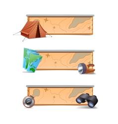 Hiking banners horizontal vector