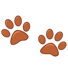 Brown paw prints vector
