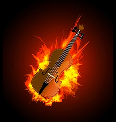 Violin in fire vector