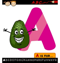 Letter a with avocado cartoon vector