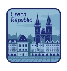 With catedral in czech republic vector