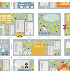 Cartoon map seamless pattern of winter city vector