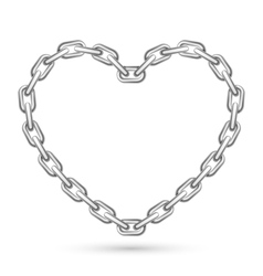 Metal heart shaped chain vector