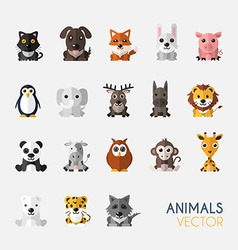 Set of cute animals with flat design vector