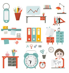 Flat design ui office supply flat design iso vector