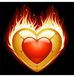 Jewelry heart in fire vector