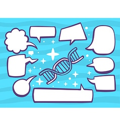 Dna molecule chain with speech comics bub vector