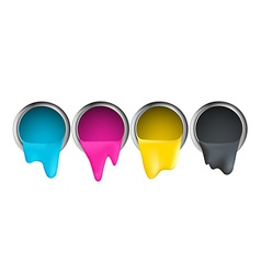 Buckets with cyan magenta yellow black paint on a vector