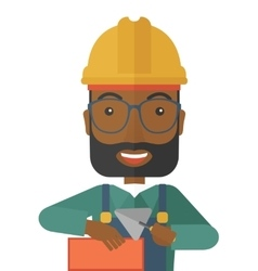 Black mason man with trowel in hand vector