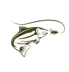 Salmon and lure design template vector