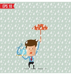 Business cartoon holding umbrella for safety vector