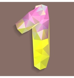 Geometric crystal digit 1 vector