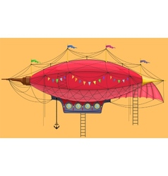 Cartoon steam punk dirigible vector