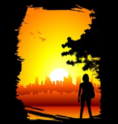 Women and city background vector