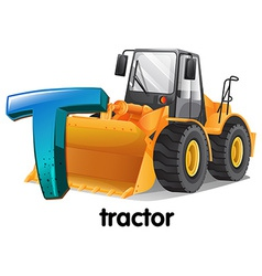 A letter t for tractor vector