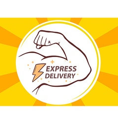 Strong man hand with icon of express del vector