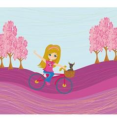 Cute happy girl riding a bike vector