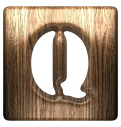 Wooden figure q vector