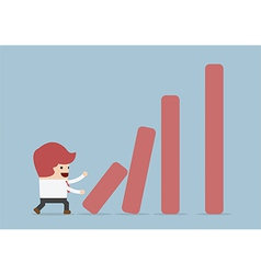 Businessman pushing bar graph dominoes effect con vector