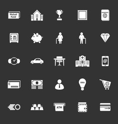Personal financial icons on gray background vector