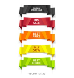 Colorful origami number options banner vector