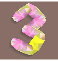 Geometric crystal digit 3 vector