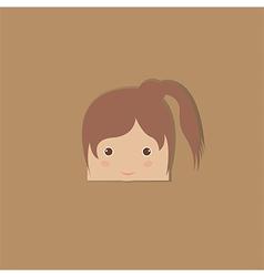 Cartoon doodle girl rectangle vector