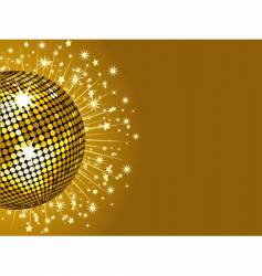 Gold disco ball and stars vector