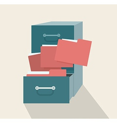 Metal filling cabinet with red folders vector