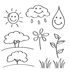Summer hand drawn sketches vector