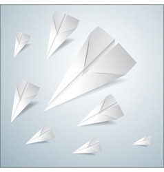 Folded paper airplanes set vector