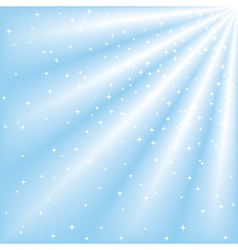 Blue sky with ray of lights and stars vector