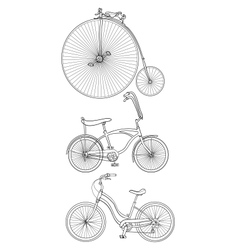 Retro bicycles vector