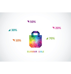 Stylized bag from triangles in bright color for vector
