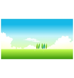Green landscape blue sky vector