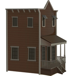 Wooden two story house for the town wild west vector