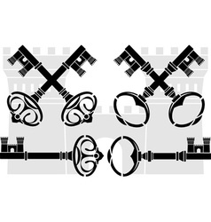 Medieval keys and castle vector