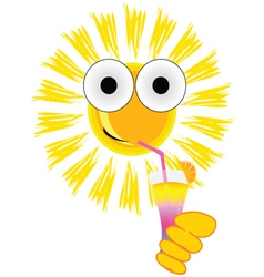 Sun drink cocktail cartoon vector