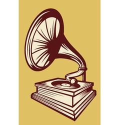 Gramophone with horn speaker vector