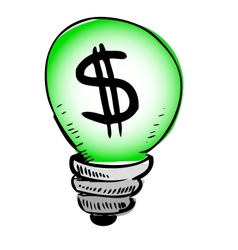 Green light bulb with dollar symbol inside vector