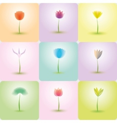 Flowers icon set nature background vector