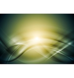 Green blurred abstract waves vector