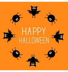 Cute bat and spider round frame happy halloween vector