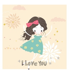 Romantic background or card vector