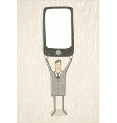 Businessman with mobile phone vector