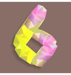 Geometric crystal digit 6 vector